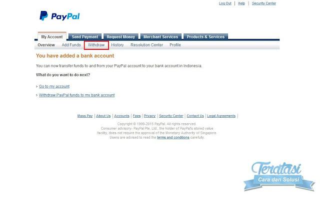 melakukan pencairan atau withdraw saldo paypal ke reking bank lokal indonesia