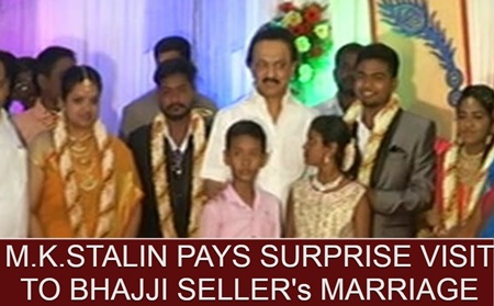 M.K.Stalin pays surprise visit to Bhajji Seller's Marriage Function