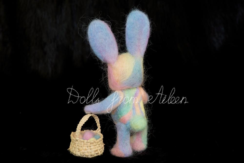 ooak needle felted Easter bunny with basket of eggs