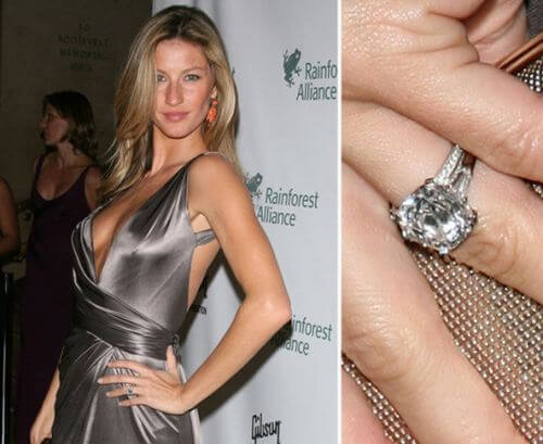 Anel noivado diamantes solitário da Gisele Bundchen