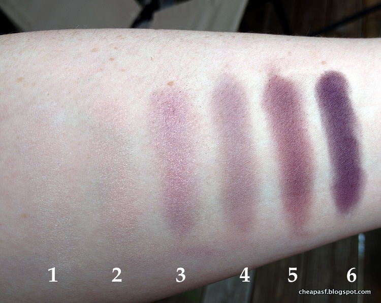 Swatches of Laura Mercier Eye Art Artist's Palette: (1) Sparkling Dew, (2) Guava, (3), African Violet, (4) Plum Smoke, (5) Kir Royale, and (6) Violet Ink.