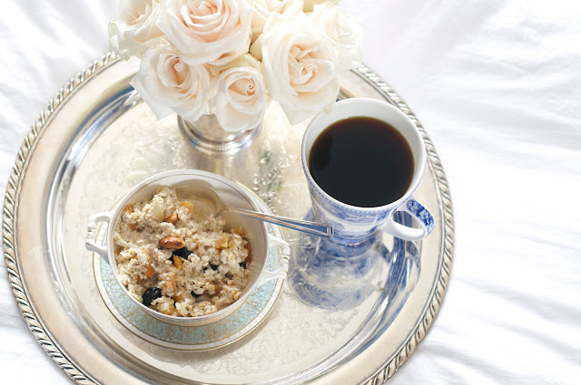 luxe oatmeal breakfast in bed