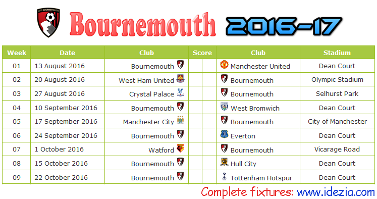 Download Jadwal AFC Bournemouth 2016-2017 File JPG - Download Kalender Lengkap Pertandingan AFC Bournemouth 2016-2017 File JPG - Download AFC Bournemouth Schedule Full Fixture File JPG - Schedule with Score Coloumn