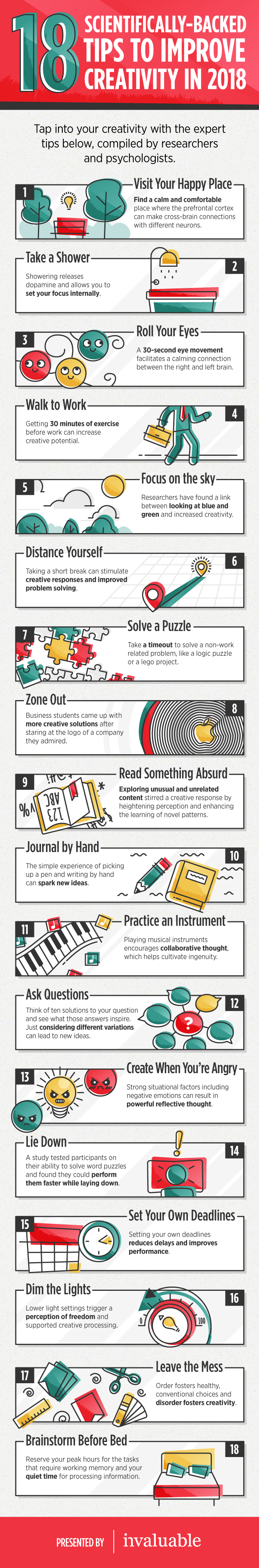 18 Scientifically-Backed Tips to Improve Creativity - #infographic