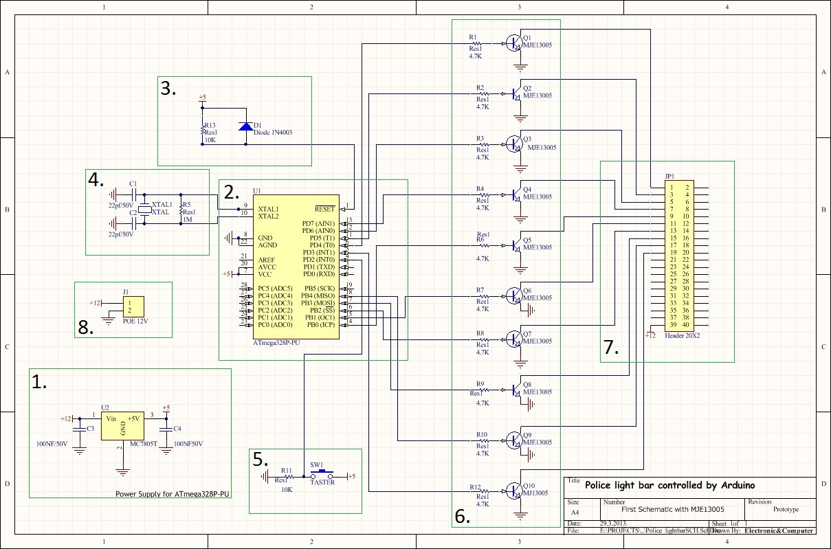 Police Led Light Bar Electronic Computer Plan Wiring Drawing On Pinterest Car Audio As You Can See Schematic 12v And 5v Is Connected With Capacitor Now Someone Will Ask Why Do We Need Well Here Capacitors Only