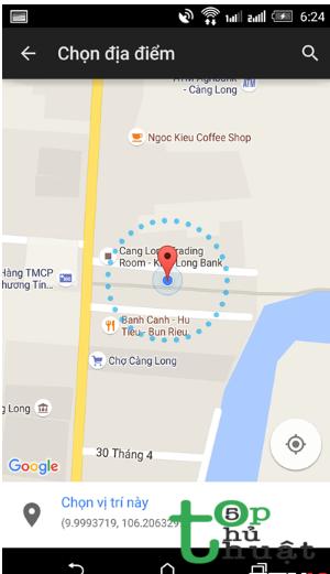 Tiến hành xác định địa điểm qua bản đồ