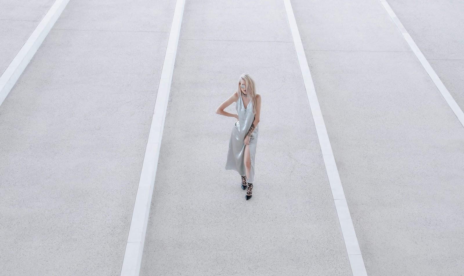 silver dress street style