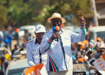 Raila in Meru with the NASA team. PHOTO | Courtesy