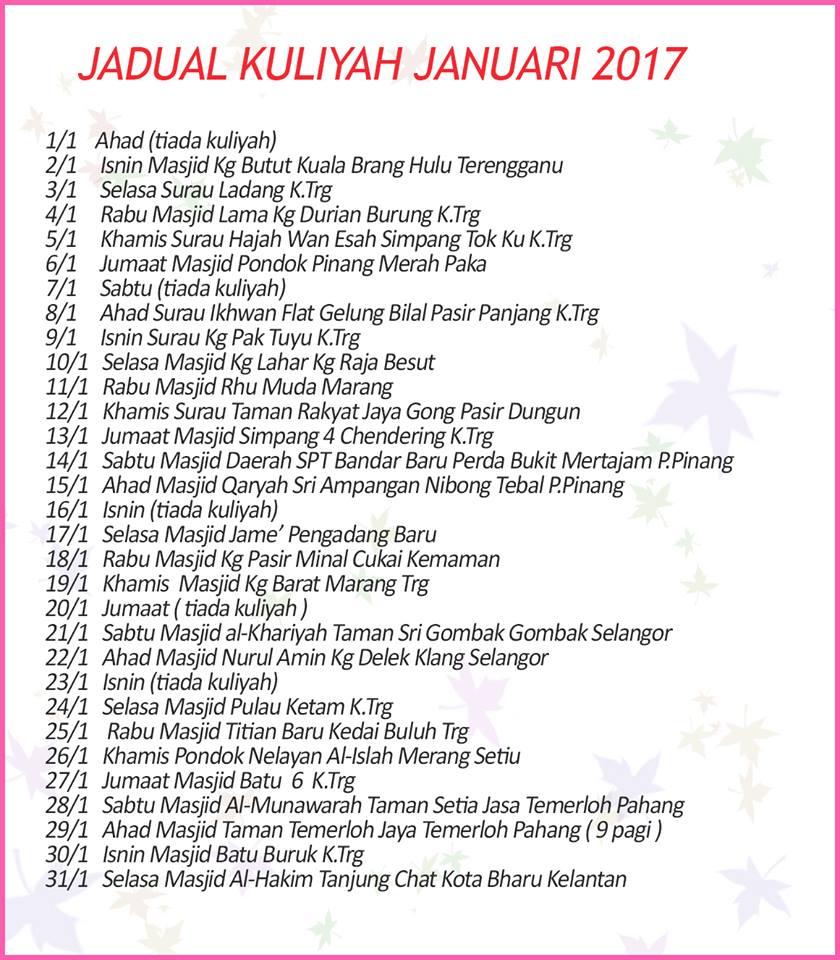 Jadual Kuliah UAI Januari 2017