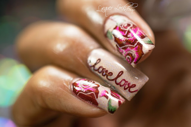 Lacquer Lockdown - leadlight roses, leadlight technique, nail art stamping, stamping, nail art stamping blog, Liquid Sky Lacquer Head To THe Bahamas, Bunny Nails HD-B, HD-B, Bunny Nails, TU 006, stamping plates, Valentines Day nail art, Valentines' day nail art ideas, cute nails, diy nail art, spring nail art, holographic nails, nail art tutorial, stamping, cool nail art ideas, handy stamping nail polish, messy mansion crystal stamper