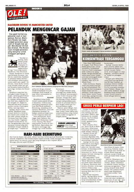 ENGLAND 1998 BLACKBURN ROVERS VS MANCHESTER UNITED