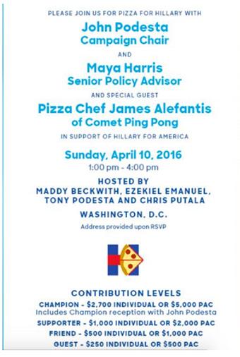 invitación con el nombre de Hillary Clinton y James Alefantis