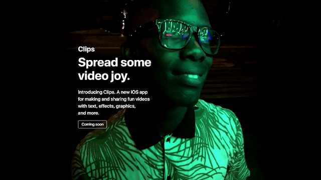 تطبيق إنشاء ومشاركة الفيديو Clips آبل