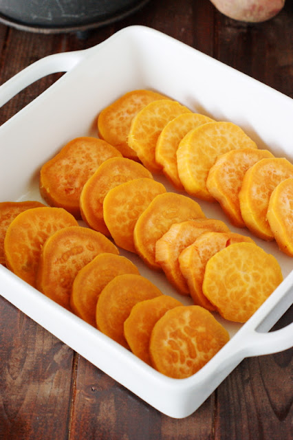 Sweet Potato Coins in a Baking Dish Image
