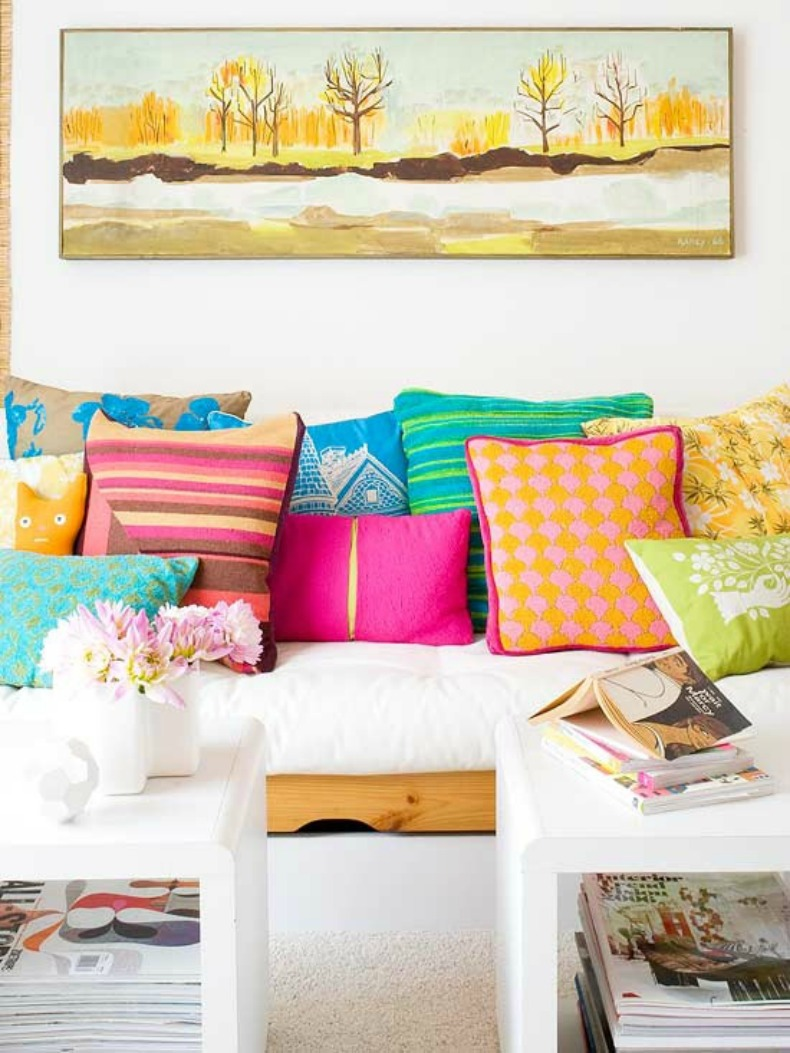 Coastal bright colored throw pillows