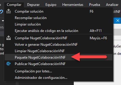 Opciones de Visual Studio para generar el paquete