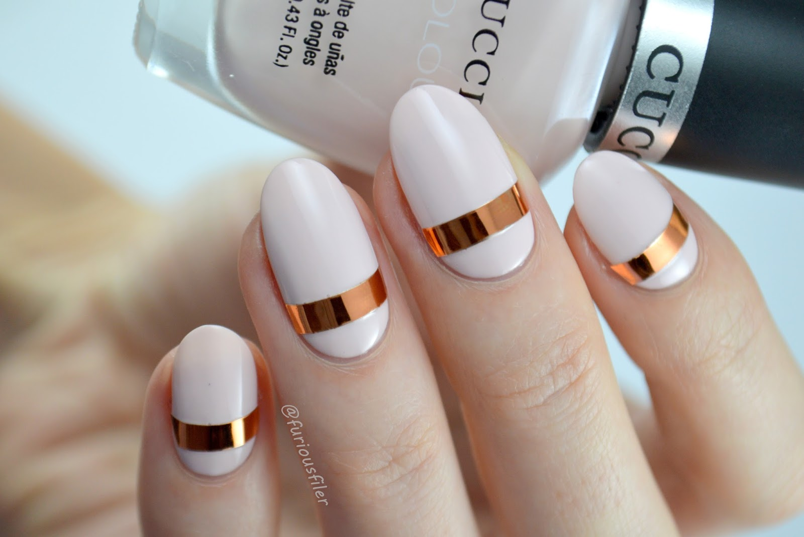 nude nail art metallic tape minimalistic furious filer