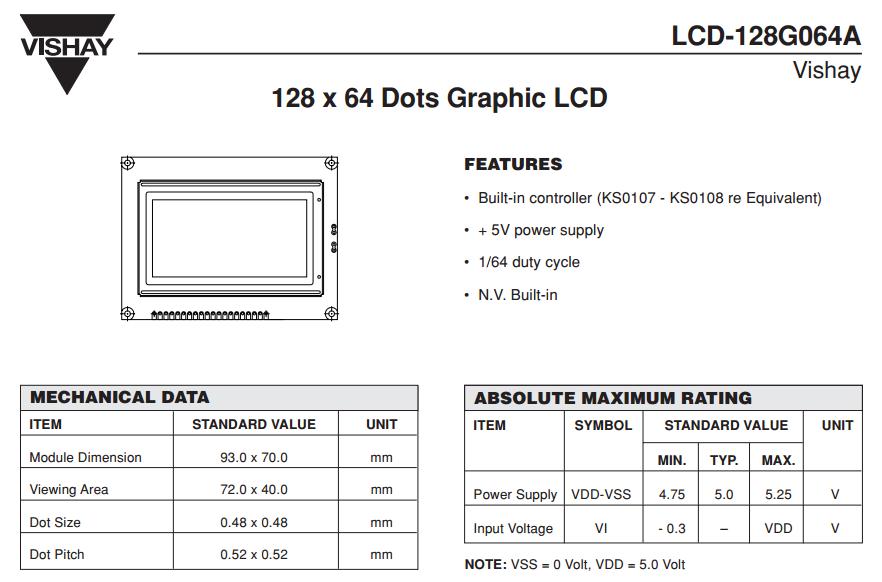 Arduino and 128x64 GLCD