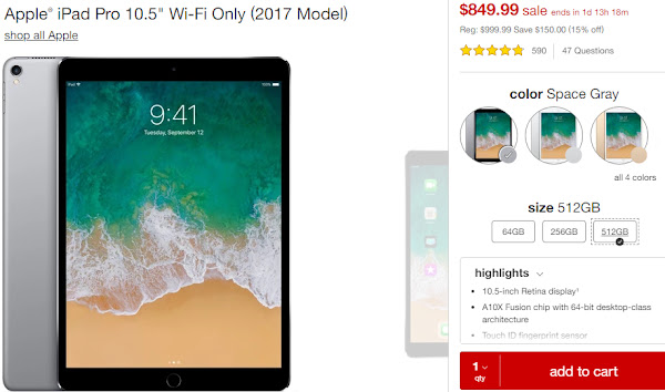 Get the iPad Pro 10.5 (512GB) for $849.99 on Target