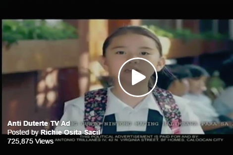 Anti-Duterte TV ad paid by Senator Trillanes