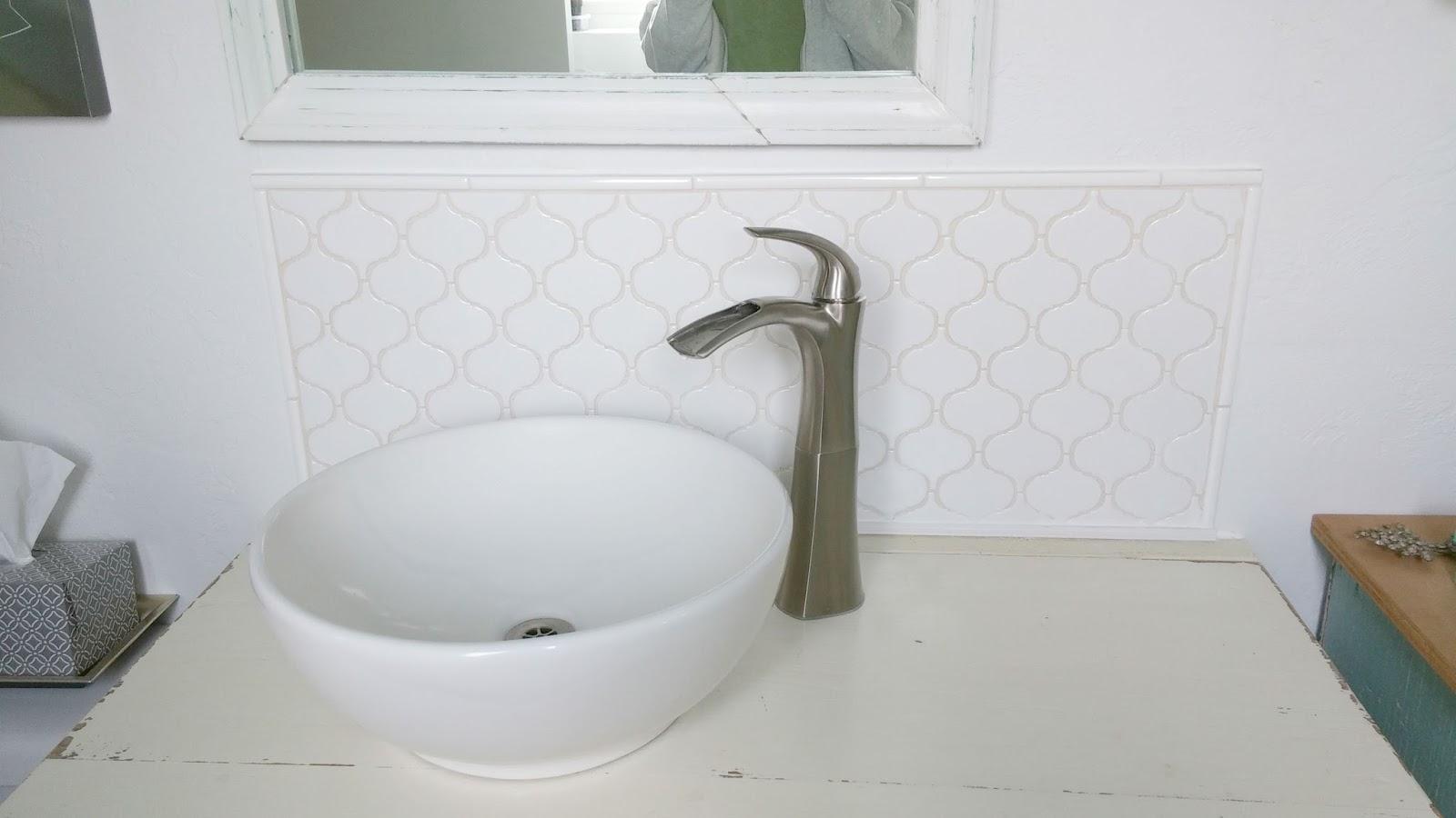 Half Bath Redo - Vanity, Tile, and a Mirror - Little Vintage Cottage