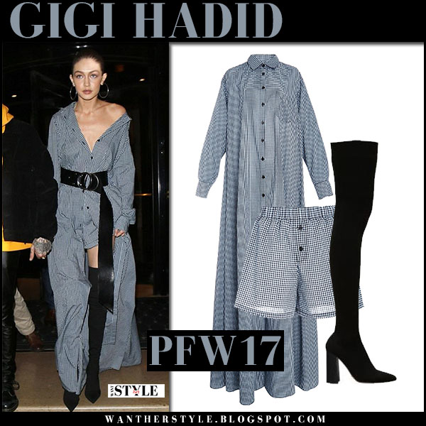 Gigi Hadid in gingham maxi shirt dress adam selman with black belt and black boots tony bianco dimity what she wore paris fashion week