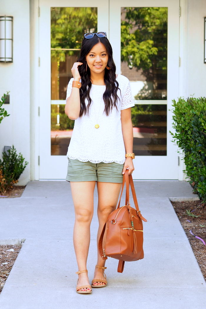 lace top + olive utility shorts + tan accessories