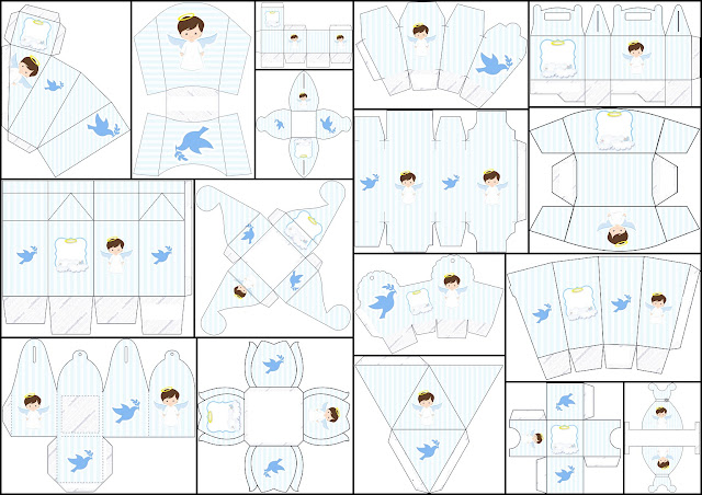 Cute Angel Boy: Free Printable Boxes.