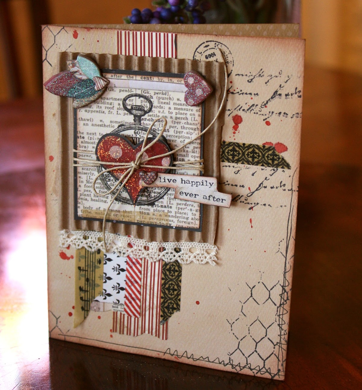 Heart Card by Gabrielle Pollacco using Bo Bunny's Star-Crossed paper and embellishment collection