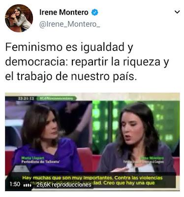 Irene Montero , Podemos, podemita , feminismo, igualdad, repartir riqueza