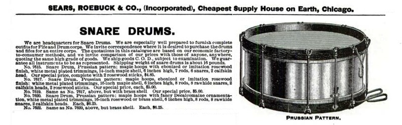 Sears Roebuck & Company Prussian Drum Advertisement
