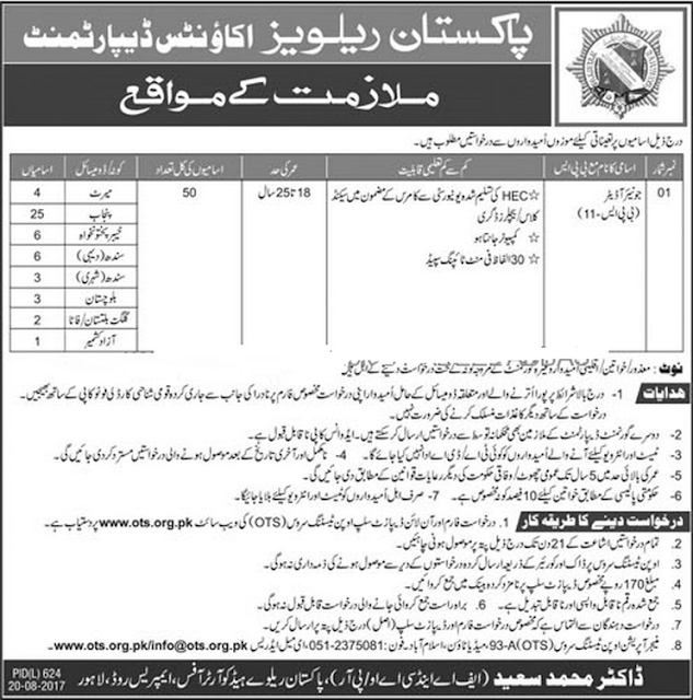Junior Auditors Jobs in Pakistan Railways 2017