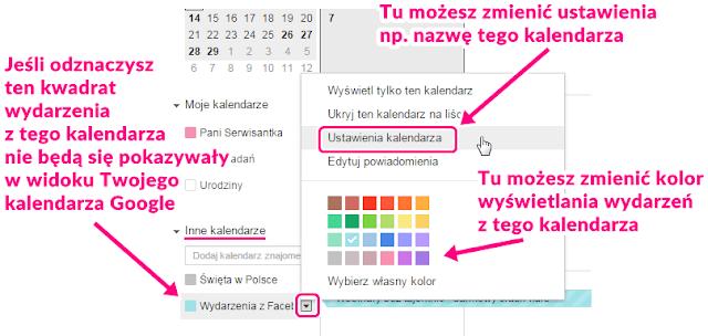 Ustawienia wyswietlania kalendarza w Google Calendar