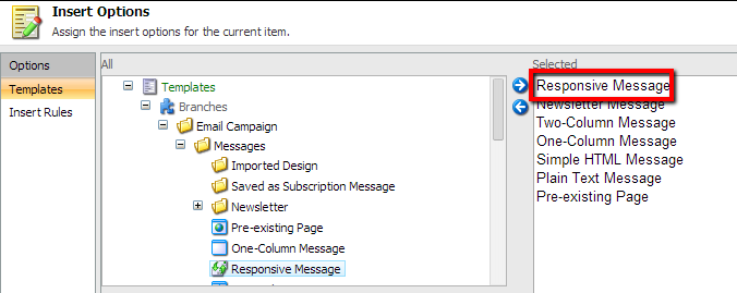 Sitecore Responsive Email Insert Options