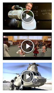 snapshots of videos in library reflecting art, science and history images.