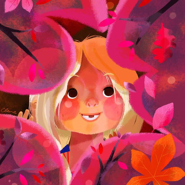 Autumn+ Fall +Leaves + Girl Illustration Claire O'Brien + DazhkaClaire