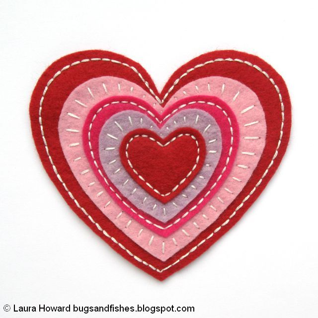 Embroidered felt heart for Valentine's Day