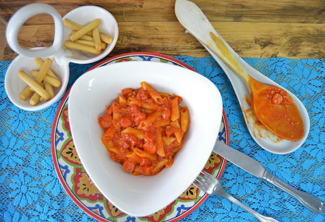 las delicias de mayte, macarrones con chorizo, macarrones con chorizo receta, macarrones con chorizo y carne picada, macarrones con chorizo y queso, macarrones con chorizo y tomate,