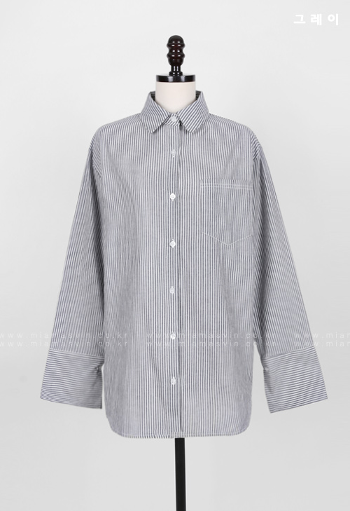 Striped Wide Cuff Shirt
