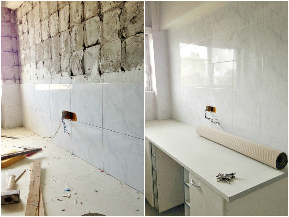 White marble tiles, kitchen renovation