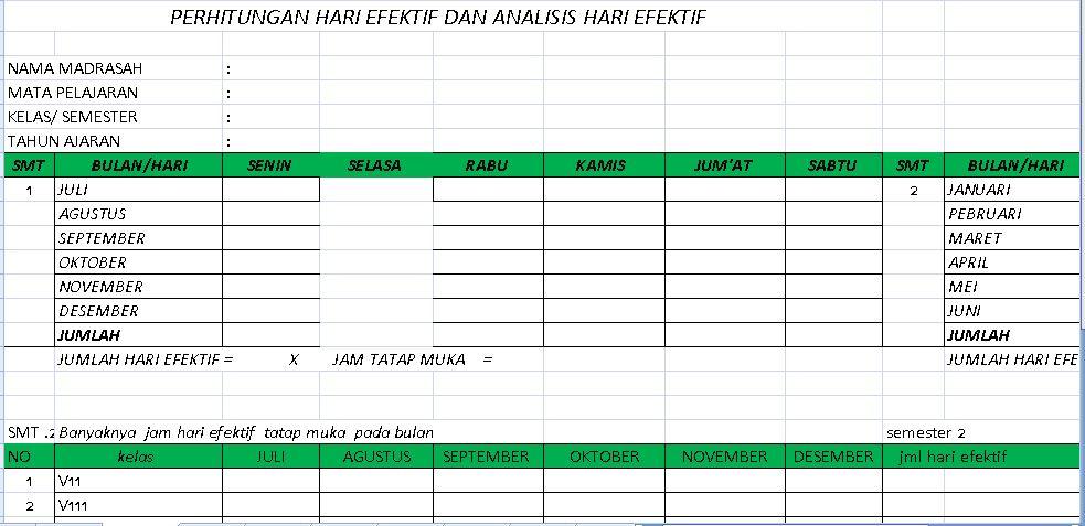 Perangkat Lengkap Administrasi Guru Sekolah Tahun 2016-2017 Format Excel