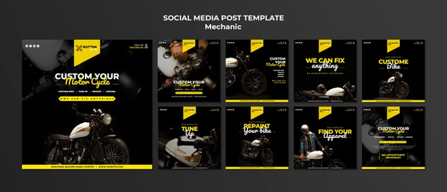 Instagram post collection for motorcycle repair shop Free Psd