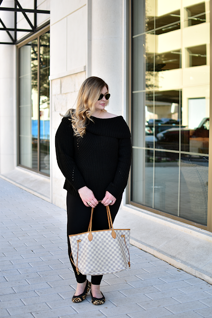 tobi off the shoulder black sweater jcrew leggings leopard flats louis vuitton damier azure neverfull gm ray ban aviator sunglasses style blogger
