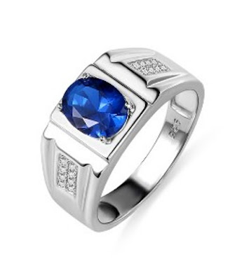 Men's Customized Oval Birthstone Classic Ring (Price: $ 48.95)