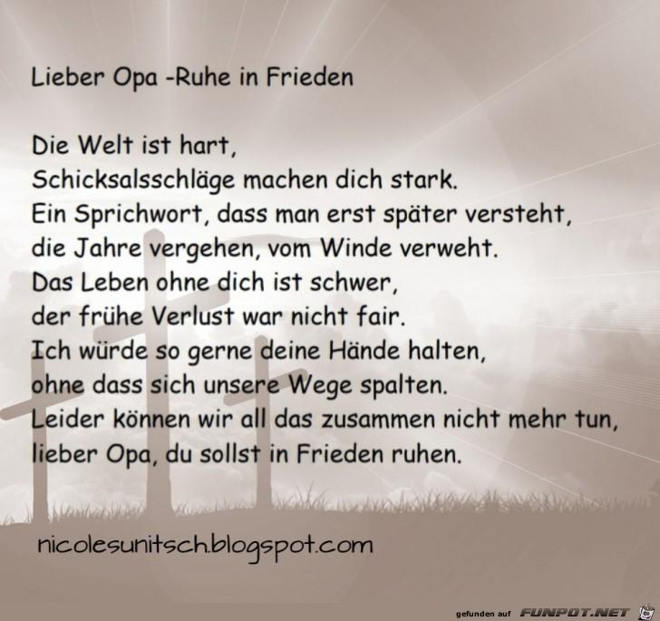 Gedichte Von Nicole Sunitsch Autorin Lieber Opa Ruhe In