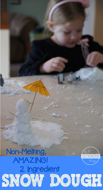 AMAZING, Non Melting Indoor Snow Dough - This is such a fun sensory activity for toddler, preschool, kindergarten, 1st grade, and 2nd grade kids. Use it with a penguin toob for an Antarctica activity for kids (play, kids activities, winter activities for kids, playdough recipe, family fun)