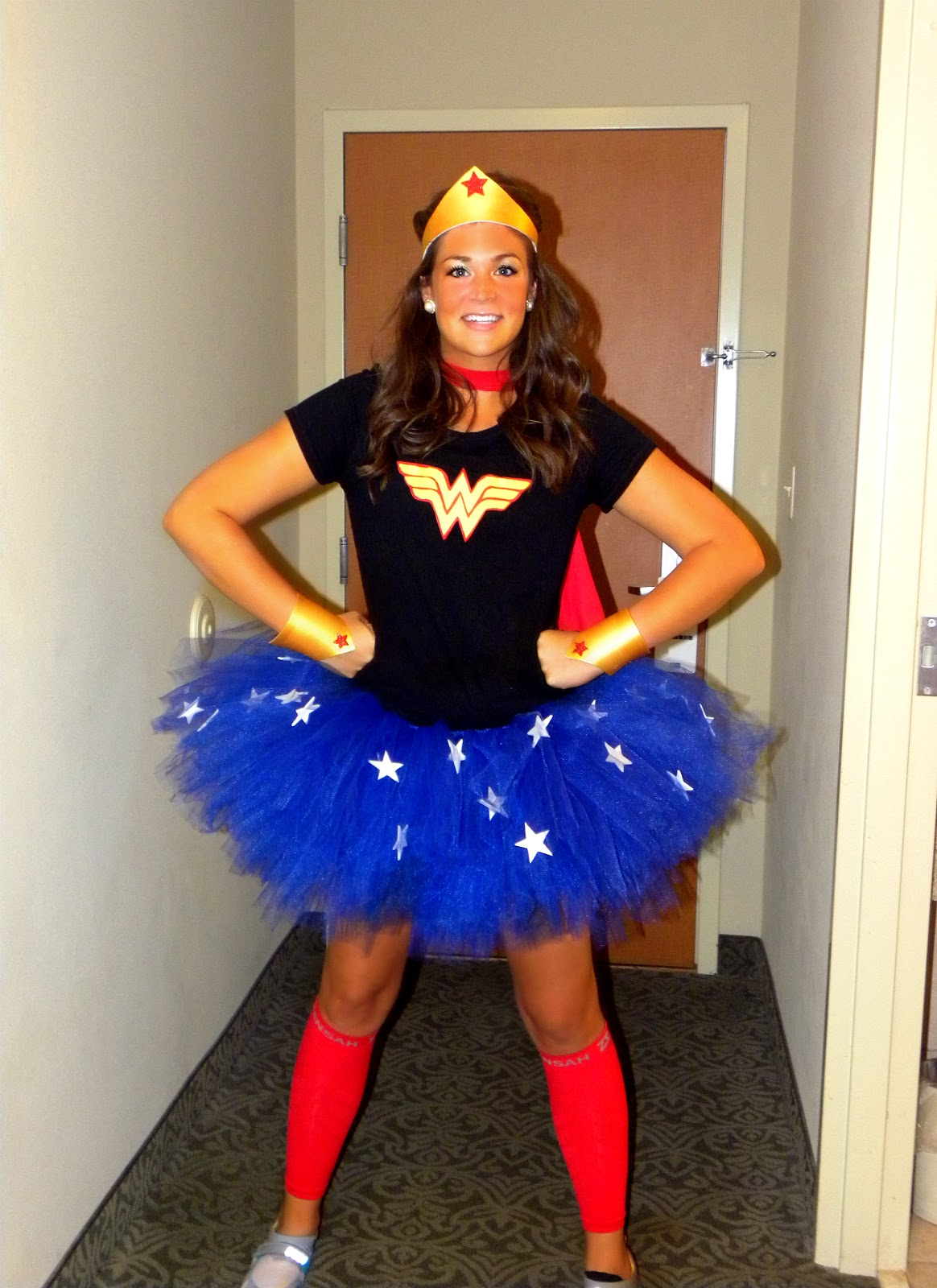 ba4de5a63c855 Then came the Wonder Woman costume for a Superhero 5k. I wore a plain black  tee with a handmade Wonder Woman logo that I just traced and cut out of  adhesive ...