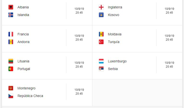 10 Calendario eliminatorias Eurocopa 2020 - 10 de septiembre 2019. Partidos de clasificación Eurocopa 2020. Juegos de las eliminatorias Eurocopa 2020. Partidos, fechas, hora, transmisiones eliminatorias Eurocopa 2020. Donde ver la Eurocopa 2020