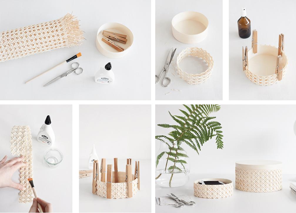 diy cajas redondas de cannage y madera decoracion facil y lowcost paso a paso