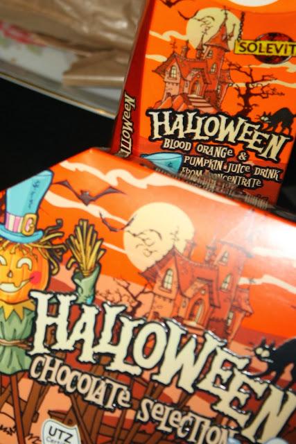 Halloween chocolates and juice